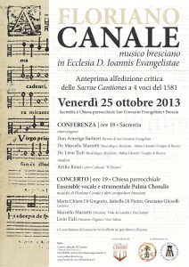 Anteprima Sacrae Cantiones (1581) di Floriano Canale (BS)